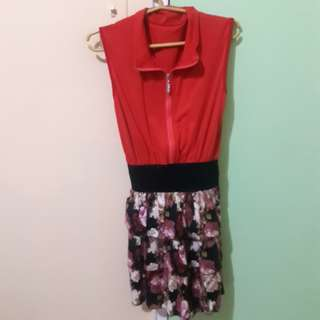 Red Collared Floral Dress