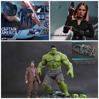 Hot toys Set captain america, hulk and black widow