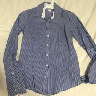 Striped button down long sleeve top