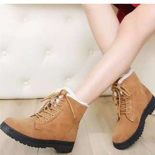 Women Winter Warm Boots Flat Lace Up Faux Fur Lined Casual Snow Ankle - Khaki