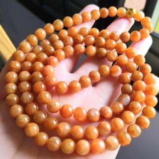 Grade A myanmar jade with cert 108beads 红翡翠项链 7.5mm