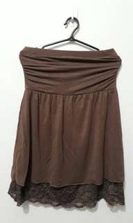 Stretch Tube Top with Lace (Choco Brown)