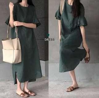 Japanese retro art ruffled short-sleeved loose long cotton and linen dress
