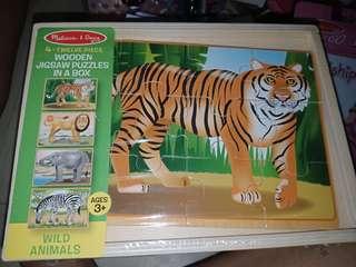 4 twelve piece Wooden Jigsaw Puzzle in a Box Wild Animals