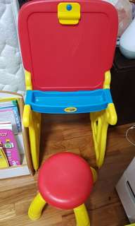 Preloved Crayola blackboard and flip chart with stool