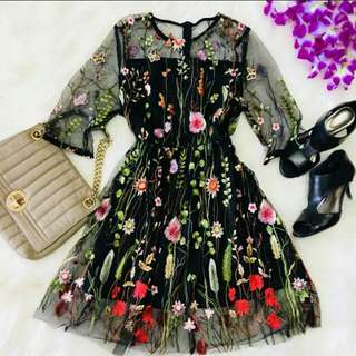 LF: Floral-Embroided Mesh Dress