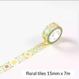 Floral tiles washi tape