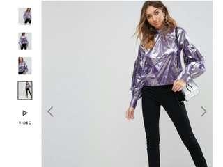 Metalic blouse (lilac)