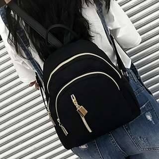 Ladies Casual Backpack Bag With Gold Yellow Zip