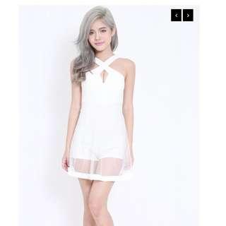 Carrislabelle Cross Front Romper Dress (White)