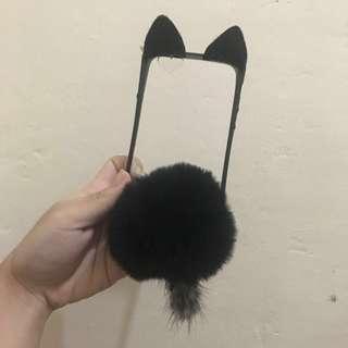 iPhone 6/6s furry cat case, clear back