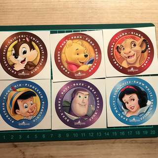 香港迪士尼貼紙 HK DISNEYLAND STICKERS x 6 pcs