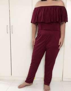 Plus Size UK14 - UK18 Red Off Shoulder Jumpsuit