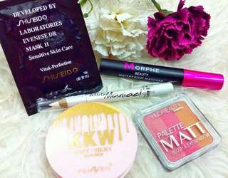 Set Combo Menawan 46 Item :  ✔️KKW silky powder ✔️ Shesido ✔Huda beauty matt blush & eyeshadow ✔️Jumbo eyeliner ✔Morphe mascara