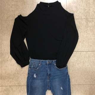 黑色露肩長袖衫