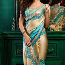 Cyan Blue and Cream Satin Saree with Ready Blouse