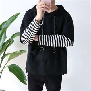 Long sleeve black and white striped top