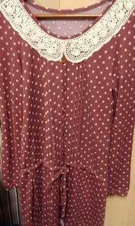 🚚 衣芙日系豆粉色點點連身鬆緊帶洋裝