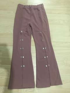 Front button up high slit pants