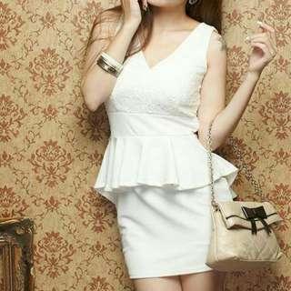Korean Style Peplum Lace Chic White Dress