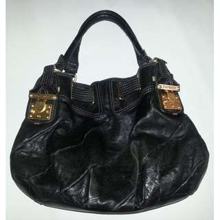 Juicy Couture Black Free Style Lock Leather Shoulder Bag