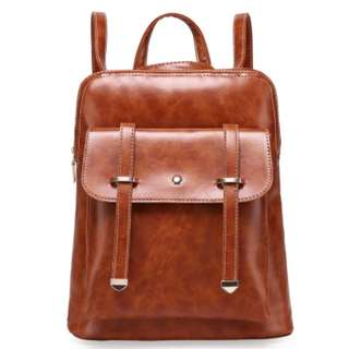 Elegant Leather Casual Cover Backpack Bag Ladies