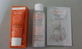Eau Thermale Avene sunscreen/ cleanser/ aqua gel