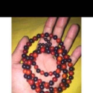 {FS138} 108 阴阳黑金刚血龙木 raja kayu penawar hitam 108 beads