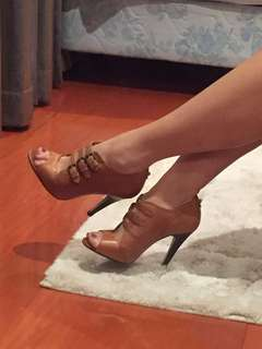 Studio TMLS Brown Tan Leather Heels