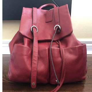Danier Red Leather Backpack