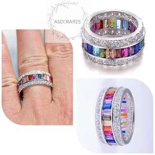 925 Sterling Silver Ring Multi colored ring