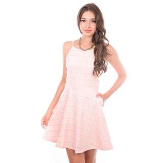(NO TRADES / NON NEGO) 🆕 The Stage Walk White Valentine Dress in Soft Pink, size S