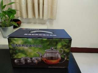 🚚 全新晶透耐熱玻璃茶具組(1壺4杯)