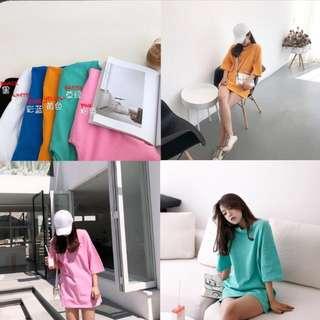 (PREORDER) Korean Design Over-sized Tee Women Fashion Round-Neck Loose Blouse