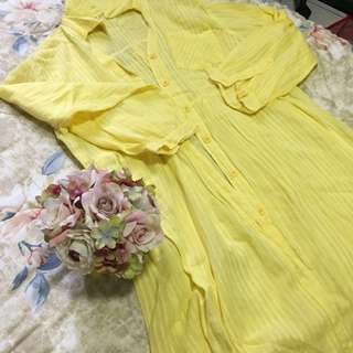 Yellow Sheer Longsleeves/ Cover-up