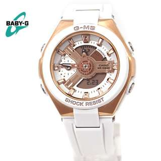 Casio GMS G-MS Baby-G BabyG Series Ladies White with Rose Gold Watch MSG-400G-7A MSG-400G MSG-400 MSG400G MSG400