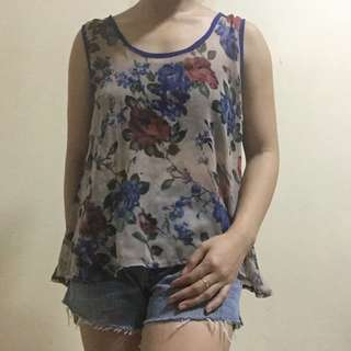 Floral see-through top