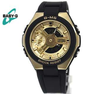 Casio GMS G-MS Baby-G BabyG Series Ladies Black & Gold Watch MSG-400G-1A2 MSG-400G MSG-400 MSG400G MSG400