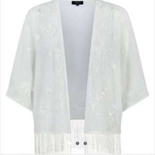 New Look/ Newlook Petite Cream Embroidered Tassel Fringe Lace Crochet Kimono