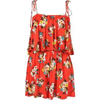 Topshop Red Floral Layered Playsuit/ Romper