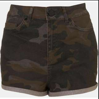 Topshop Army Camo HW high waist shorts