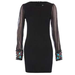 Dorothy Perkins Spiked Cuff Sheer Sleeve Bodycon Dress