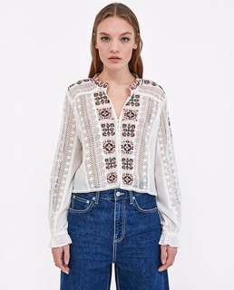 Europe and the United States women's round neck long sleeve hollow embroidery tulle blouse Cardigan