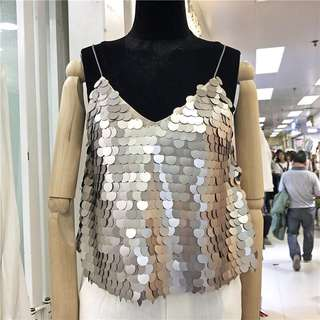 (More cols) Reflective sequins adorned Camisole