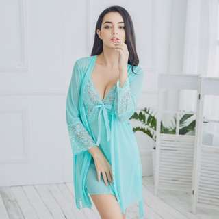 2 Piece Sexy Translucent Night Gown