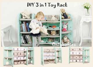 Free delivery 3-in-1 toy rack storage container