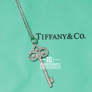 Diamond Like Crystals Key Necklace 925 Silver