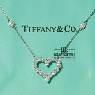 Heart Diamond Like Crystals Necklace Chain 925 Silver