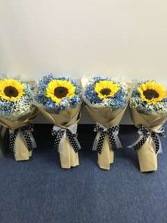 Single sunflower with blue and white Baby Breath Hand Bouquet