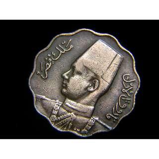 1943年埃及王國(Kingdom of Egypt)埃皇法路克一世像5米厘花形銅幣